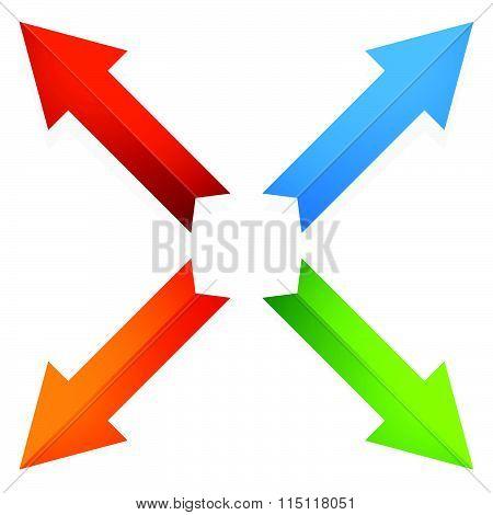 Colorful 4 Way Diagonal Arrows Pointing Outwards. Vector.