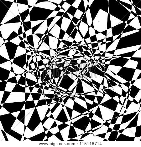 Shattered Texture. Abstract Edgy Monochrome Background In Black And White. Random Fragments, Tessell
