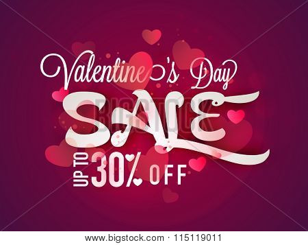 Glossy pink hearts decorated Poster, Banner or Flyer design of Sale with 30% discount offer for Happy Valentine's Day celebration.