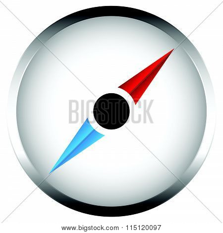 Compass With Metallic Border. Compass Vector Icon Isolated On White.