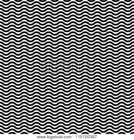 Wavy, Zig Zag, Jagged Lines. Repeatable Monochrome Pattern.