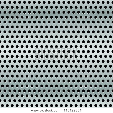 Perforated Metal Background. Industrial Backdrop, Metallic Sheet With Dimples. Repeatable Pattern.
