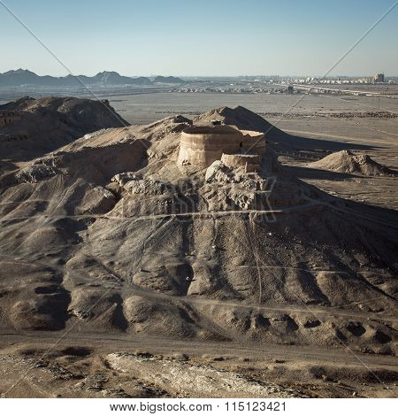 Retro stylized photo. View to the Zoroastrian Tower of Silence in Yazd, Iran poster