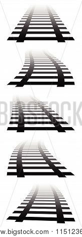2D, Vanishing Railway Tracks. Railroads In Perspective. Fading Version.