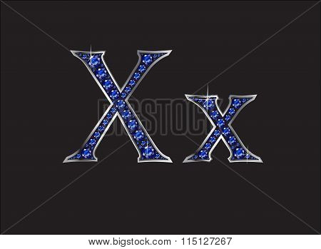 Xx Sapphire Jeweled Font With Silver Channels