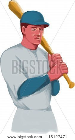 Watercolor style illustration of a vintage american baseball player batter hitter holding bat on shoulder set on isolated white background.