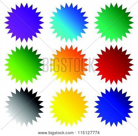 Badge, Starburst, Price Flash Shapes. Vector Illustration.