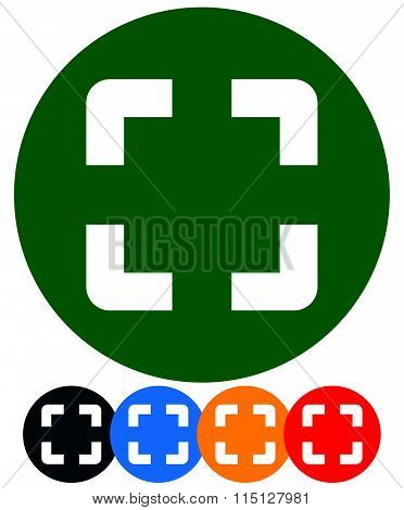 Square target mark generic icon in 5 colors and gray poster