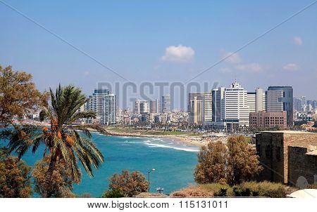 Coastline of the Mediterranean Sea, Tel Aviv, Israel. poster