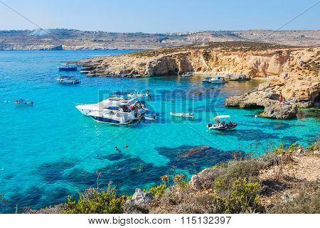 Blue Lagoon In Comino Island, Malta
