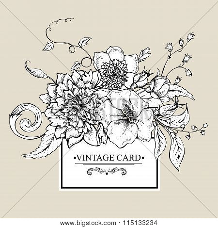 Monochrome greeting card with blooming peony