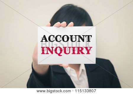 ACCOUNT INQUIRY message on the card Held by women.