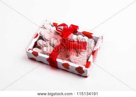 Valentine Box Of White Cookies Gift Box
