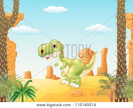 Vector illustration of Cute baby tyrannosaur with the desert background