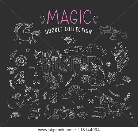 hand drawn, magic, unicorn and fairy doodles