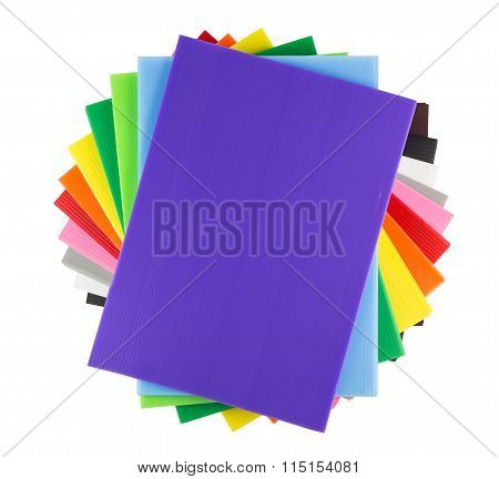Stack Of Colorful  Corrugated Plastic Sheets