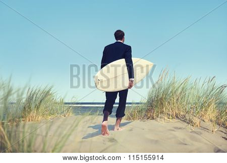Alone Businessman by the Beach with Surfboard Concept