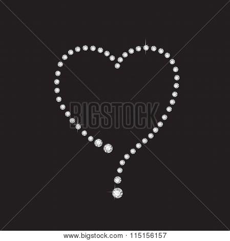 Diamond Creative Heart Frame On Black