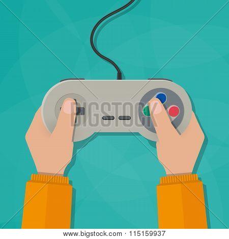 Hands holding gamepad