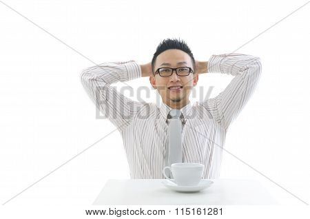 Asian Business Name Having A Coffe Isolated Background