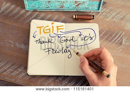 Handwritten Text Tgif Thank God It's Friday