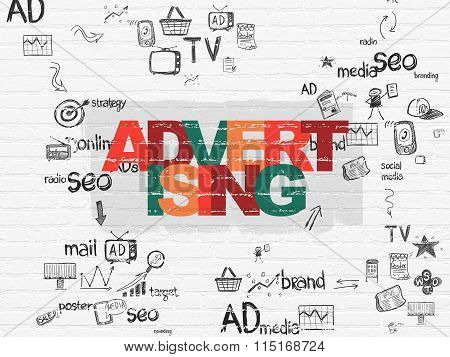 Advertising concept: Advertising on wall background