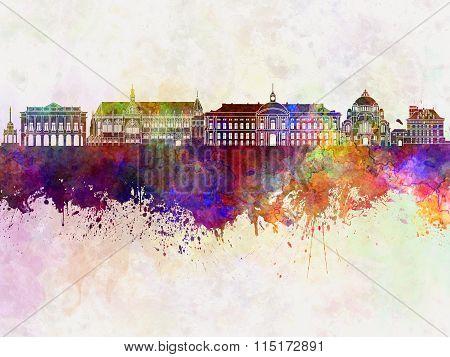 Liege Skyline In Watercolor Background