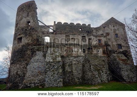 The stone ruins of a medieval castle in Bolkow