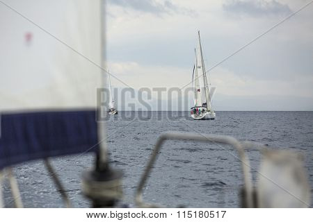 MONEMVASIA, GREECE - CIRCA MAY, 2014: Boats participate in sailing regatta 11th Ellada 2014 Spring among Greek island group in the Aegean Sea, in Cyclades and Argo-Saronic Gulf.