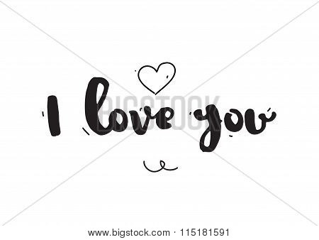 I love you. Greeting card for Valentines day. Hand drawn design elements. Black and white.