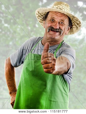Happy Organic Farmer With A Green Apron Shows His Upraised Thumb