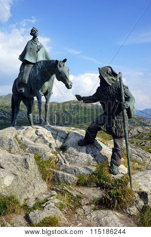 The Equestrian Statue Of General Suvorov On Gotthard Pass