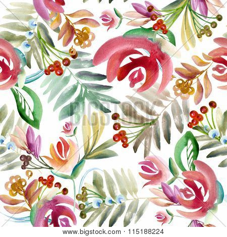 Folk floral ornament. Floral watercolor drawing. folk style painting. Floral background. Garden flow