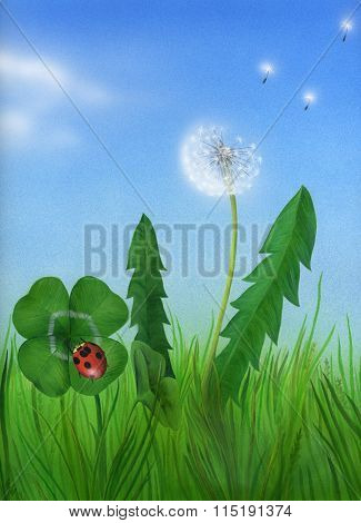 Lucky spring with ladybug and four-leaved clover