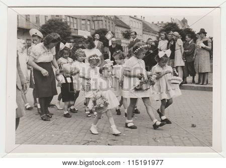 Vintage photo shows religious (catholic) celebration circa 1943.