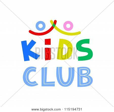 Kids Club Vector Logo Template.