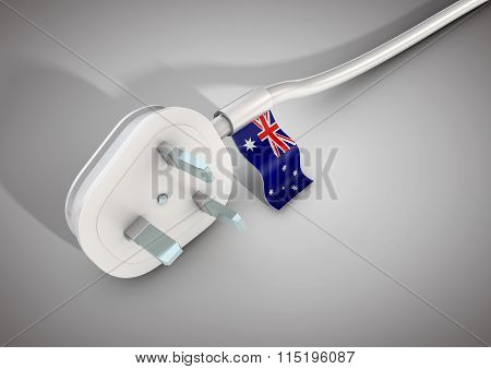 Electrical Power Cable And Plug With Australia Country Flag Attached.