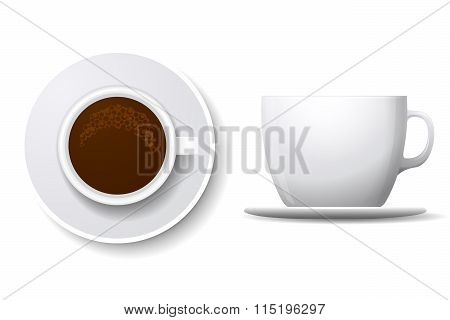 Coffee cup isolated on white. Top view and side vector illustration