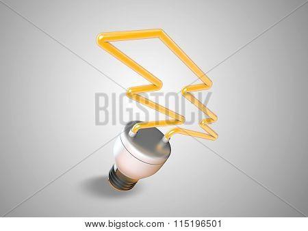 Energy Saver Light Bulb Forms Shape Of Lightening Bolt