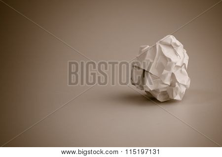 Crumpled Paper Ball, Rejection And Failure Idea.