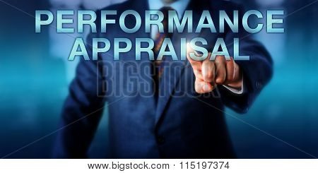 Manager Touching Performance Appraisal Onscreen