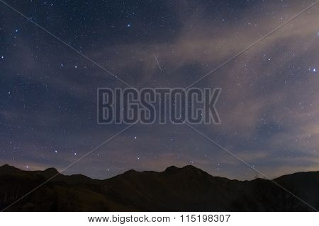 Starry Sky With Ursa Major And Capella From The Alps
