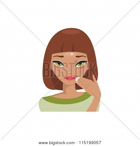 Herpes On The Lips. Vector Illustration