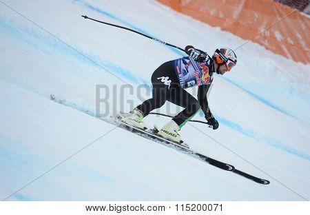 KITZBUHEL, AUSTRIA - JANUARY 25 2014:   Competing on Hahnenkamm Course during the Audi FIS Alpine Ski World Cup Downhill race in Kitzbuhel, Austria.
