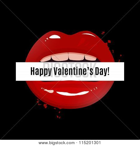 Happy Valentine's Day Vector Illustration, Red Seductive Lips Holding A Banner On Dark Background