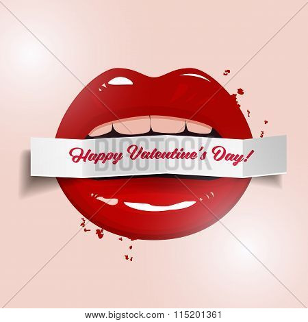 Happy Valentine's Day Vector Illustration, Red Seductive Lips Holding A Paper Banner On Light Backgr