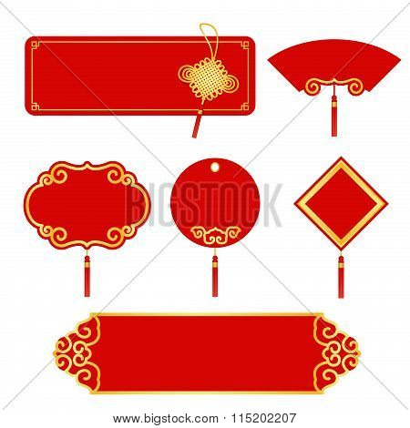 Red And Gold Banner Label For Chinese New Year Vector Set Design