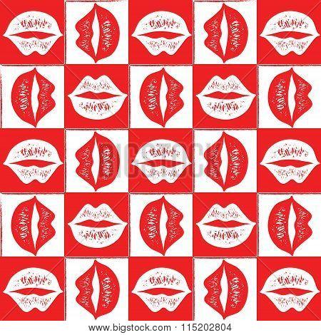 Seamless red lips pattern.
