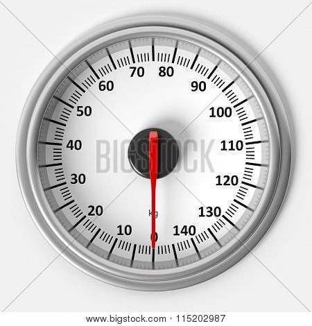 Bathroom scale dial in kilograms, isolated on white background.