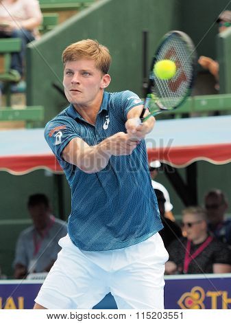 David Goffin ball on rackquet
